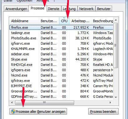 Windows Taskmanager Prozesse