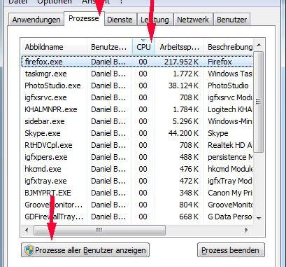 Windows Taskmanager Prozesse