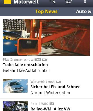 Android App ADAC Motorwelt Top News