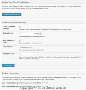 Better WP Security - Backup WordPress Database