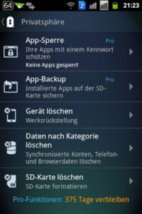 AVG Mobile AntiVirus Security PRO - Privatsphaere
