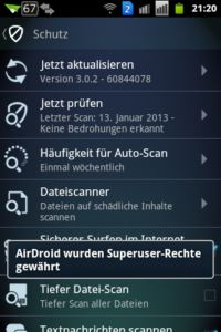 AVG Mobile AntiVirus Security PRO - Schutz