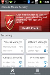 COMODO Mobile Security - Antivirus Free Hauptbildschirm