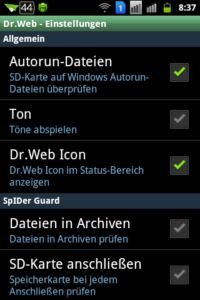 Dr.Web Antivirus Light - Einstellungen