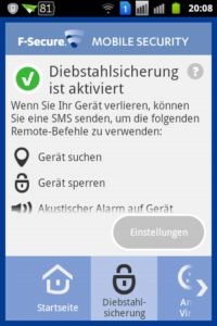 F-Secure Mobile Security - Diebstahlsicherung