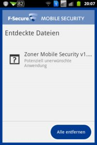 F-Secure Mobile Security - Scanner endeckte Datein