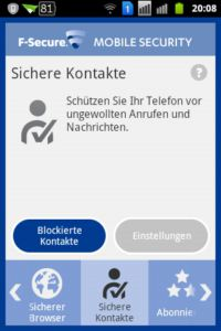 F-Secure Mobile Security - Sichere Kontakte