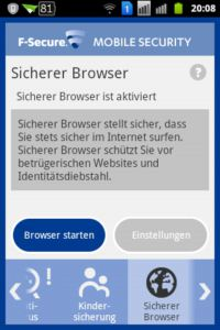 F-Secure Mobile Security - Sicherer Browser