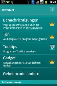 Kaspersky Mobile Security light - Erweitert