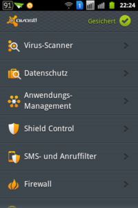 avast! Mobile Security - Hauptbildschirm