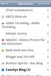 Browser Mobile Version Tiny Tiny RSS Reader Ubersicht