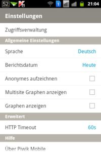 Android App - Piwik Mobile Screen Einstellungen