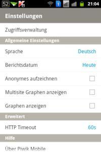 Android App -  Piwik Mobile Screen Einstellungen