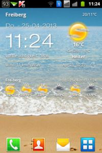 Android Weather Clock Widget HomeScreen durchsichtig