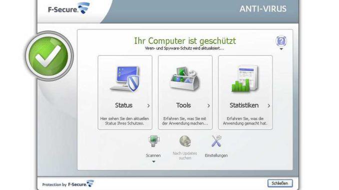 F-Secure Antivirus 2013 - Hauptscreen