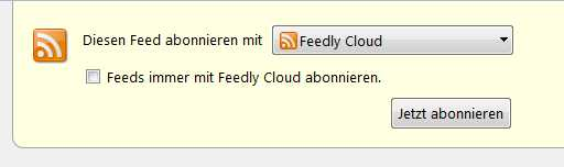 Feed abonnieren mit Feedly Cloud