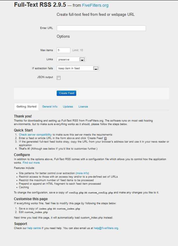 Full-Text RSS auf dem eigenen Webspace