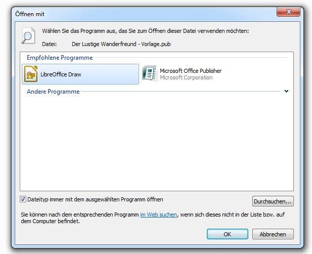 Dateiverknüpfungen mit LibreOffice Draw erstellen - dauerhaft immer