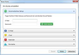 eM Client Neues Konto erstellen