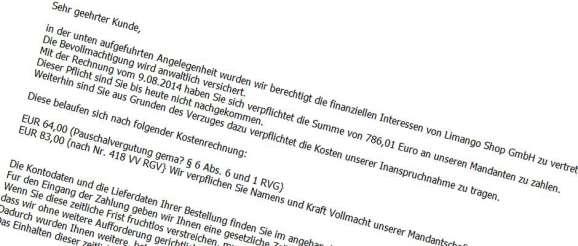 Fake Rechnungs-Mail von Limango inklusive Virus