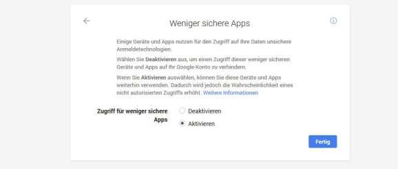 Gmail weniger sichere Apps