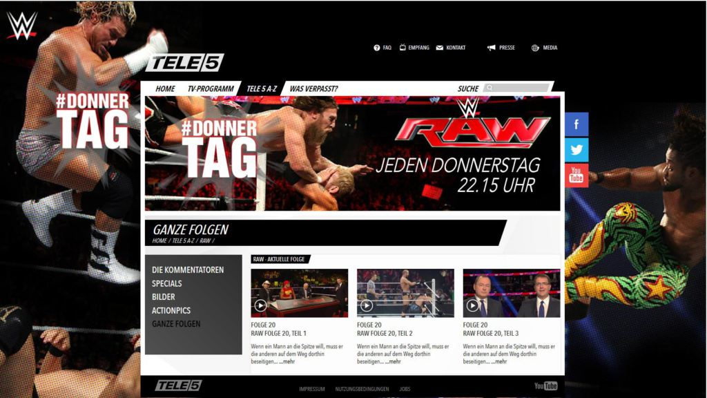 WWE RAW Screenshot von Tele5.de am 31-8-2014