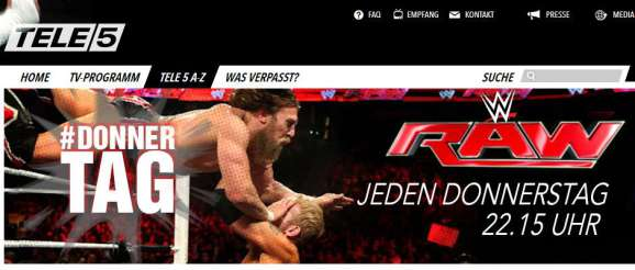 Screenshot WWE RAW Tele5 Donnerstag