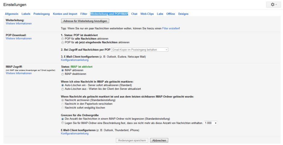 Weiterleitung und POP IMAP bei Gmail