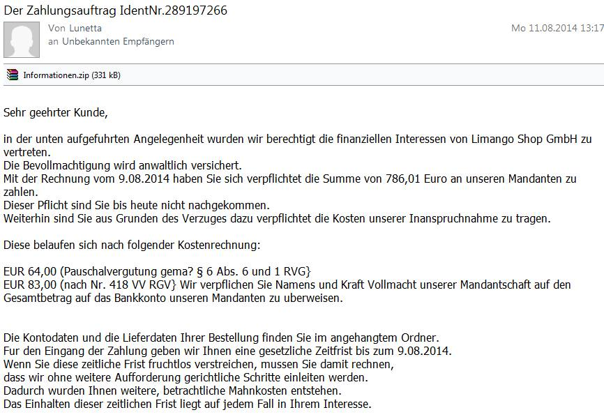 fake rechnungs mail von limango inklusive virus. Black Bedroom Furniture Sets. Home Design Ideas