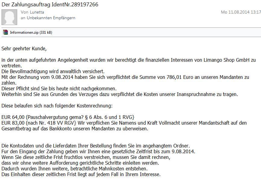 angebliche Spam-Mail Limango komplett