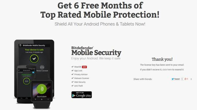 Bitdefender Android 6 Monate kostenlos