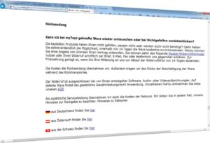 Screenshot: myToys Service Rücksendung