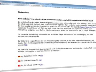 Screenshot: myToys Service Rücksendung