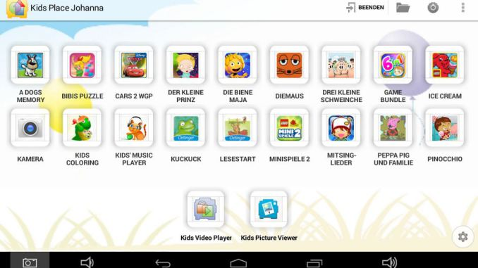Screenshot Kids Place auf Blaupunkt 4 Kids