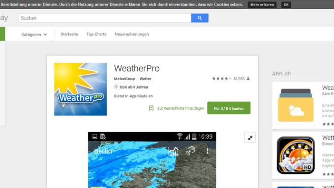 WeatherPro Playstore Screen 28-7-2015