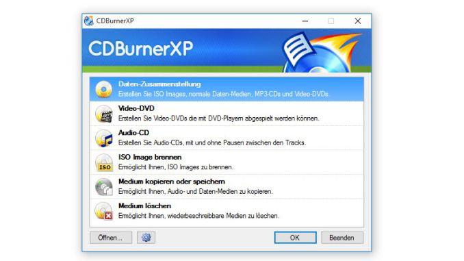 CDBurnerXP-Startscreen