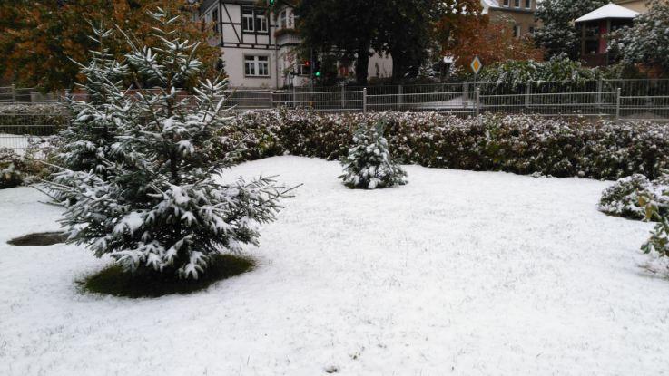 Schnee im Oktober in Freiberg. Die Wiese im Kindergarten.