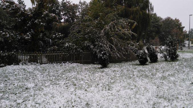 Schnee im Oktober in Freiberg. Die Wiese vor dem Kindergarten.