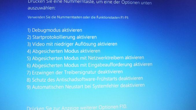 Windows 10 Screen Problembehandlung Starteinstellungen