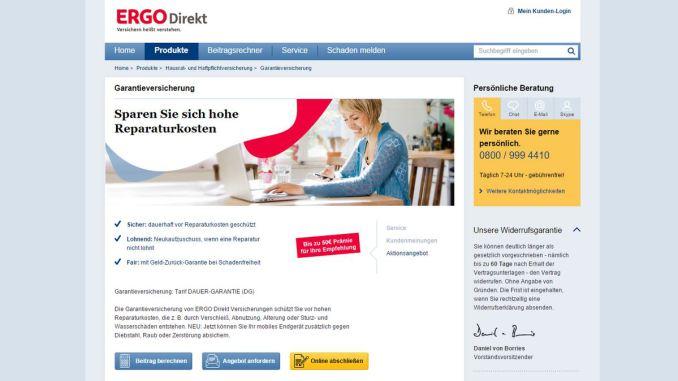 Screenshot Ergo Direkt Garantieversicherung 22-12-15