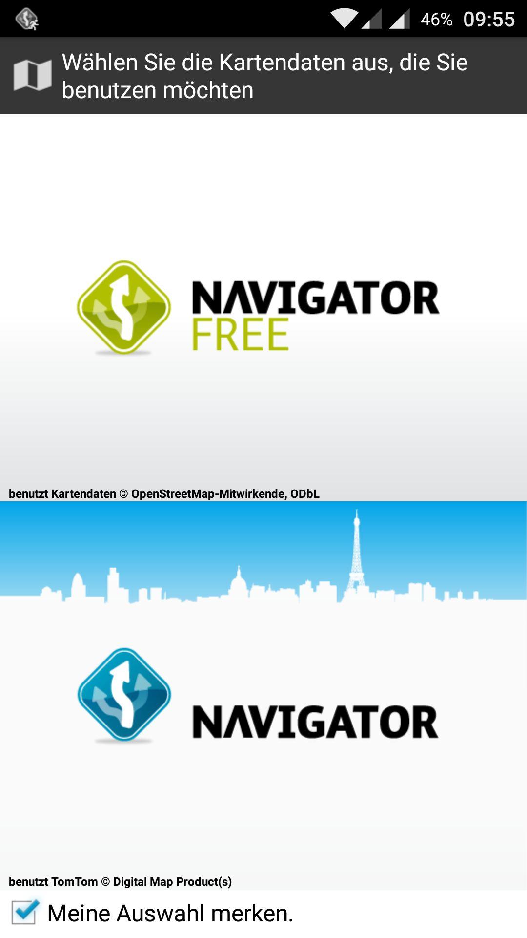 MapFactor GPS Navigation – Auswahl